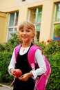 Young Girl Going To School Royalty Free Stock Photography - 12746537