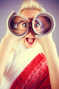 Funny Girl Portrait With Telescope Stock Photography - 12807242