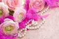 Flowers And Pearls With Copy Space Stock Photography - 12814712