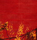 Yellow And Black Blossom On Red Background Royalty Free Stock Images - 12829919