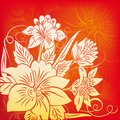 Flower On Red Stock Image - 12839171
