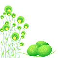 Abstract Flowers And Green Easter Eggs Royalty Free Stock Photo - 12844665
