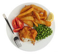 Breaded Fish Fillet Meal From Above Royalty Free Stock Photo - 12878295