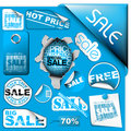 Set Of Blue Sale Tickets, Labels, Stamps ... Royalty Free Stock Photography - 12891587