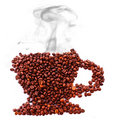 Cup From Coffee Beans With Smoke Isolated Stock Photo - 12928930