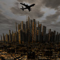 Airliner Above City Royalty Free Stock Images - 12932429
