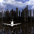 Airliner With A City Stock Photography - 12932552