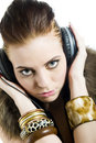 Young Sexy Party Girl With Headphones Stock Image - 12951691