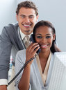 Charming Business Partners Working At A Computer Royalty Free Stock Photography - 12975847