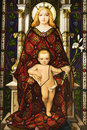 Stained Glass Window Of Madonna And Child Stock Image - 12978171