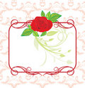 Red Rose With Decorative Frame And Ornament Royalty Free Stock Photos - 12987278