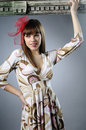 Fashion Model Posing With Red Accessory Royalty Free Stock Photography - 13017337