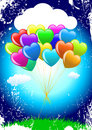 Bunch Of Colorful  Cartoon Heart Balloons Stock Photography - 13030532