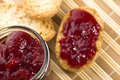 Breakfast Of Cherry Jam On Toast Royalty Free Stock Photography - 13121397