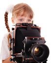 Child With Old Wood Large Format Digital Camera. Royalty Free Stock Images - 13130629