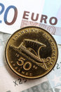 Greek Drachma On Euros Vertical Royalty Free Stock Images - 13133099