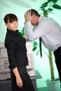 Girl In Black Jacket And Men On Green Background Stock Images - 13169274