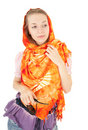Young Girl With Orange Shawl Royalty Free Stock Photo - 13232135