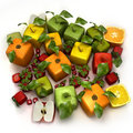 Fresh Cubic Fruits Stock Images - 13243504