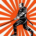 Samurai Warrior With Sword Fighting Stance Stock Photography - 13280802