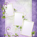 Purple Frame For Three Photos Royalty Free Stock Images - 13361859