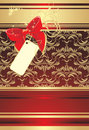Red Bow With Card On The Decorative Background Royalty Free Stock Photography - 13409627