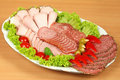 Dish With Ham And Sausage Stock Photography - 13433242