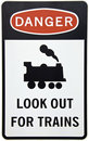 Warning For Trains Sign Royalty Free Stock Images - 13468109