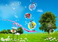 Green Field, Blue Sky And Fishes Royalty Free Stock Image - 13499676