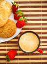 Coffee, Buns And Strawberries On Table Royalty Free Stock Image - 13499936