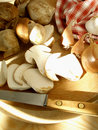 Mushrooms On The Cutting Board With Shallots, Onions And Garlic Royalty Free Stock Photos - 1357738