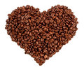Heart Made Of Coffee Beans In A White Background Stock Photography - 13515312