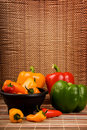Green Yellow Red And Orange Bell Peppers Royalty Free Stock Photo - 13518185