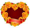 Orange Rose Frame In The Shape Of Heart Stock Photography - 13518842