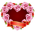 Pink Rose Frame In The Shape Of Heart Royalty Free Stock Photo - 13518855