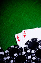 Poker Hand With Chips, Pocket Aces Royalty Free Stock Photography - 13537767