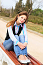 Teen Girl Resting In The Park Royalty Free Stock Image - 13544566