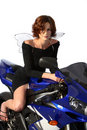 Brunette Girl On Motorcycle Black Dress And Wings Royalty Free Stock Photos - 1362578