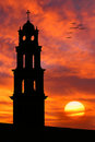 Silhouette Of Old Church In Front Of Beautiful Sun Royalty Free Stock Photo - 1366935