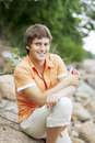 Portrait Of A Cute Guy On The Nature Royalty Free Stock Image - 13607426