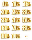 Gold Percent Tags Stock Images - 13698934