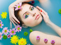 Girl In A Blue Water Stock Photography - 13714592