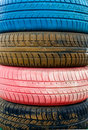 Colored Old Tires Royalty Free Stock Photography - 13723147