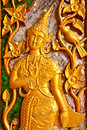 Angel In Native Thai Style Wood Carving Royalty Free Stock Images - 13740609
