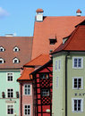 Curved Walls Of Medieval Houses, Cheb - Czech Republic Royalty Free Stock Photo - 13815795
