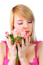 Portrait Of A Woman Holding Pink Flowers Stock Image - 13823481