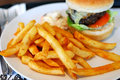 Fast Food Hamburger And French Fries Royalty Free Stock Photo - 13833405