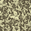 Seamless Vintage Grunge Floral Pattern With Orchid Royalty Free Stock Photo - 13835075