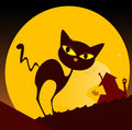 Black Cat Silhouette And City Sunset Royalty Free Stock Image - 13874446