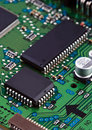 Microchips On Circut Board Royalty Free Stock Photography - 13915117